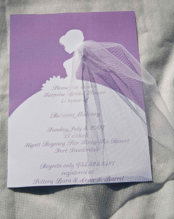 Items similar to Bridal Shower Invitations Bride Silhouette with – Homemade Wedding Shower Invitations