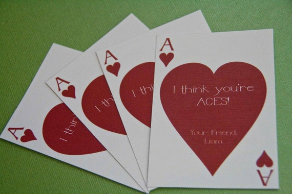 Items similar to Playing Card Valentine Ace of Hearts Mini – Valentine Playing Cards