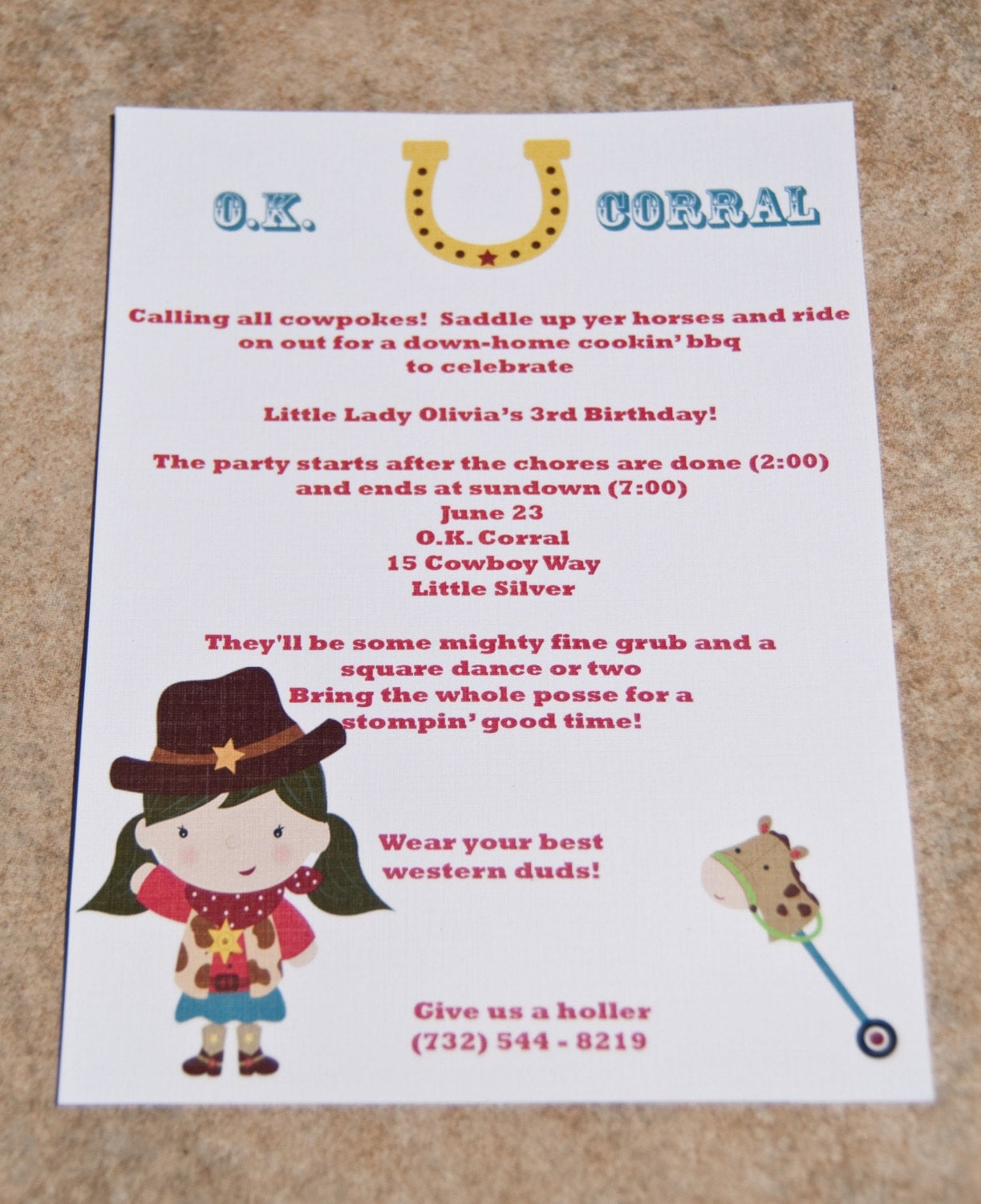 Cowgirl Birthday Party Invitation Wording