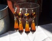 Reserved for Cannycraft Only   4 Vintage Crystal Prisms Chandelier Various Styles Clear or Amber