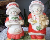 Salt and Pepper Shakers Mrs. Claus Red and White Christmas Vintage