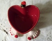Red Heart Cupcake Dish Ceramic with Ceramic Feet Red Painted Toes
