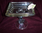 Glass Soap Dish Candle Holder Trinket Dish Candy Dish Pedestal Vintage Repurposed Upcycled