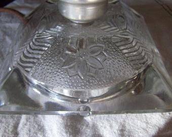 Crystal Glass Lamp Cut Glass Base Boudoir Lamp Reverse Pattern Vintage