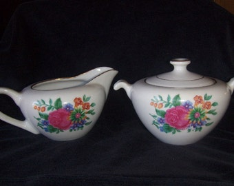 Vintage Creamer and Sugar Set Gold Trimmed Floral Vintage China Numbered