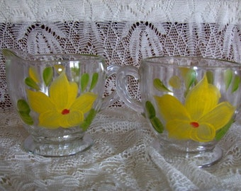 Clear Glass Cream and Sugar Set Hand Painted Yellow Flowers Vintage