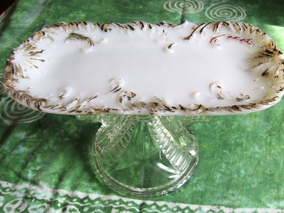 Milk Glass Victorian Cake Stand  Pedestal Cupcake Stand Candle Stand Trinket Dish made With Vintage Components Wedding