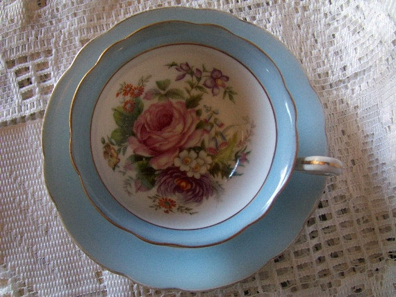 Vintage Cup and Saucer Trimont Occupied Japan Hand Painted  with Gold Trim