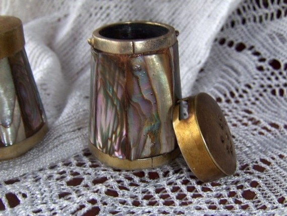 Vintage Salt and Pepper Set Mother of Pearl with Brass