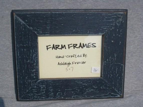 5 x 7 navy blue old vintage wood picture frame. Black Bedroom Furniture Sets. Home Design Ideas