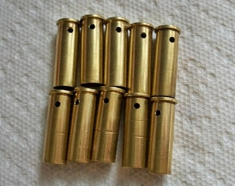 Bullet shell casings drilled bullets Qty of 10 Brass .38 Special Bullet Shell Casings Bullet pendants gold bullet casings....Lot 75