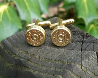 Bullet Shell Cufflinks, Gold Federal .45 Auto Handcrafted Repurposed Bullet Shell Cufflinks