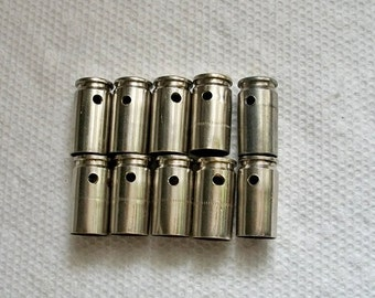 Bullet shell casing pendants, Lot of 10 Nickel silver 9mm Bullet Shell Casings, Pre-drilled for your jewelry needs.....Lot 14