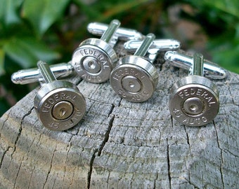 Bullet Shell Cufflinks, Wedding Special 2 matching pairs silver Federal .45 Auto, One for the Groom one for the Best Man