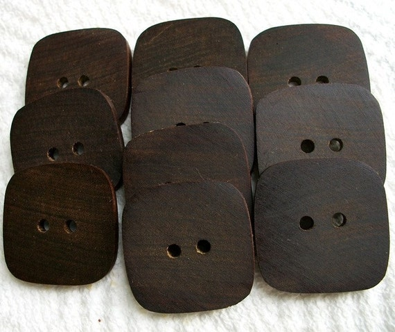 A Gorgeous lot of 10 XL Exotic Brazilian Ipe Handcrafted Wooden Buttons....1 1/2 inches....2 large holes....211