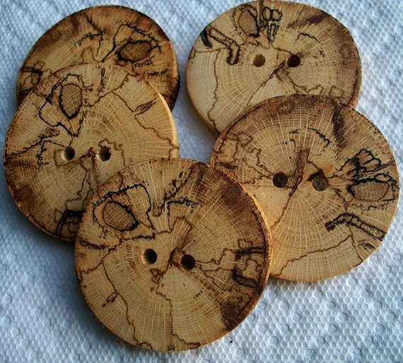 Lot of 5 XXXL Thick and Chunky Spalted Oak Handcrafted Tree Branch Buttons....2 3/8 inch....2 large holes...245