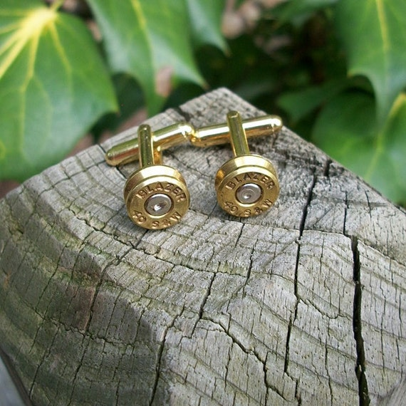 Bullet shell casing cufflinks, Blazer .40 S & W Handcrafted Cufflinks.....Cuff links Set Crafted by me from repurposed bullet shell casings