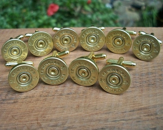 Reserved for Danielle...Shotgun Bullet Shell Cufflinks, Wedding Special 6 matching pairs of Remington Peters 28 gauge cufflink sets