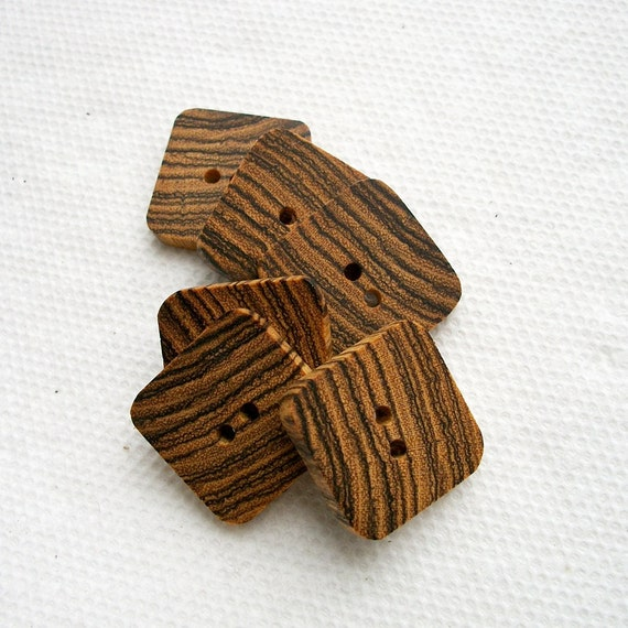 Lot of 6 Square Exotic Bocote Handcrafted Wooden Buttons....1 inch....2 holes....44