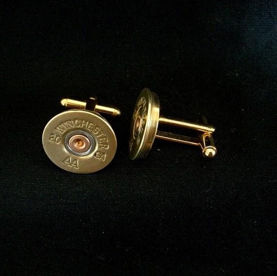 Shotgun Bullet Shell Gold Cufflinks, Winchester AA 20 gauge cufflinks crafted from repurposed shell casings