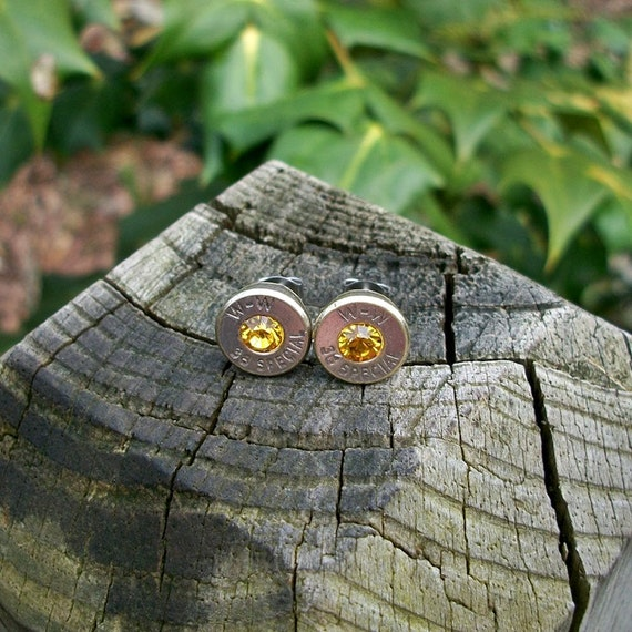 Bullet Shell stud or post Earrings, Nickel Silver Winchester .38 Special Handcrafted Repurposed with Swarovski November Birthstones
