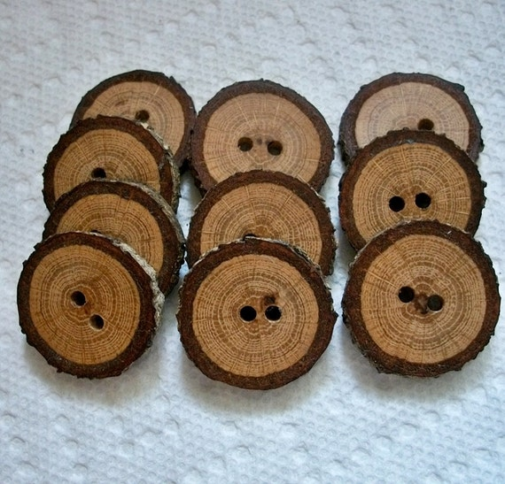 Wood or Wooden Buttons Lot of 10 Small Spalted Oak Tree Branch Buttons....1 1/8 inch....2 holes...20