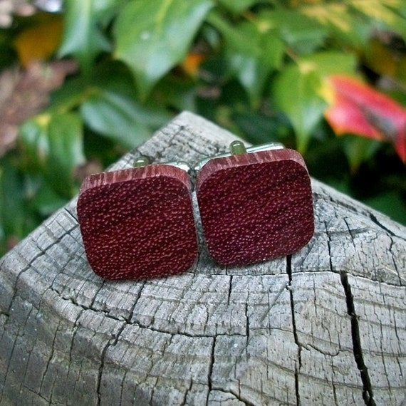 Cuff links Set Handcrafted from Exotic Purpleheart wood