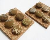 Ready to Ship - Twigs - Decorative Fabric Covered Push Pin Thumbtack Set