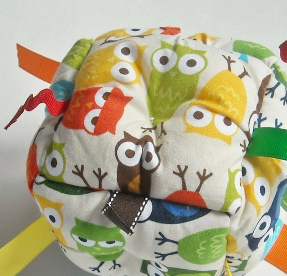 Jumble Ball Baby Toy with ribbon tags and rattle- Bright Owls