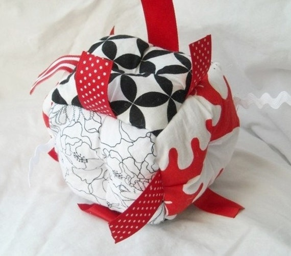 Jumble Ball Baby Toy with ribbon tags and rattle-high contrast black red white