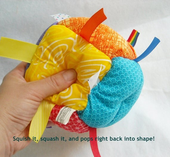 Jumble Ball Baby Toy with ribbon tags and rattle- - Bright Rainbow