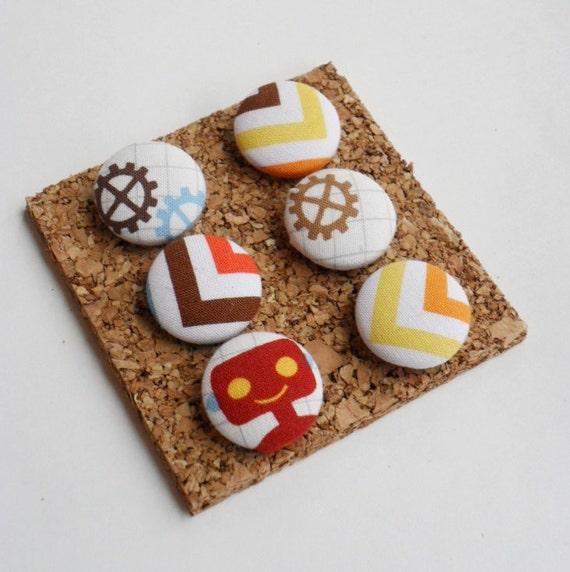 SALE- Robot Decorative Fabric Covered Push Pin Thumbtack Set