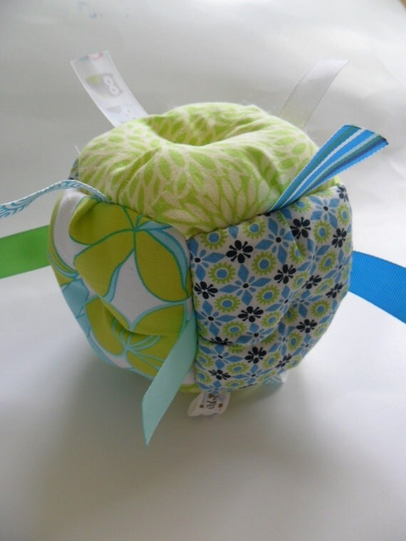 Jumble Ball Baby Toy with ribbon tags and rattle- Blue & Green
