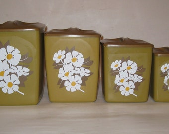 Vintage Nesting Canisters With Floral Motif Square Plastic