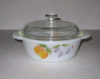 Fire King Vintage Hand Painted One Pint Personal Casserole With Lid