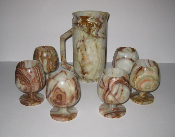 Vintage Onyx Pitcher With Juice Goblets Made in Pakistan