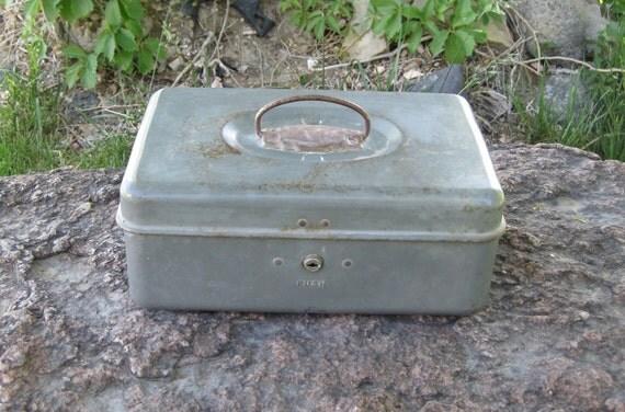 Vintage Industrial Gray Union Steel Tackle Box Tool Box