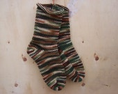 Handknit Socks in Woodsy Camo 1 pair fits US adult size 7 to 9 Fabulous Funky Footwear
