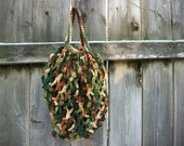 EARTH DAY - European style Market/Shopping Bags Handmade in USA Woodsy Camou Camouflage colored