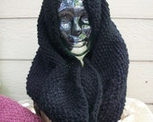 Cowl Chunky Black Seed Stitch Cowl for halloween and beyond
