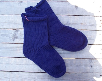 HandKnit Socks NAVY Blue Knit 1 pair fits US adult size 7 to 9