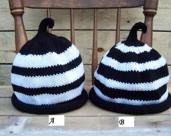 Black and White Striped Stem Hat goth emo scene kid halloween fall autumn warm kids adult unisex vegan