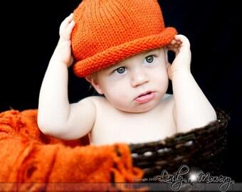 Pumpkin hat 4 Sizes Newborn thru 1-5 year fall/autumn Photo Prop halloween orange green stem kids vegan unisex