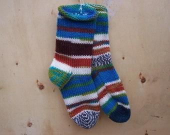 Knit Socks Random Kindness 1 pair fits U.S. adult size 10 to 12 hand knit Fabulous Funky Footwear
