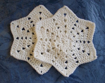 Earth Day Dishcloths/Washcloths/Babycloths 2 WINTER WHITE Pure Cotton Star shape