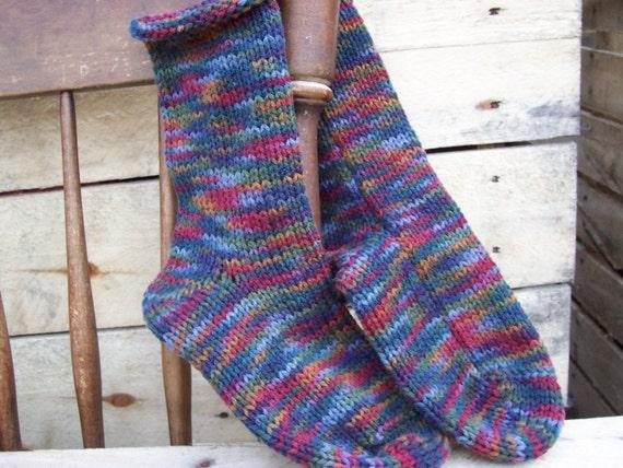 Hand Knit Socks 1 pr You pick the size in Williamsburg Print men women unisex Fabulous Funky Footwear