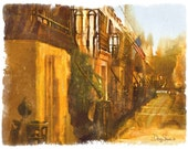 Savannah Morning  (Watercolor Print - 8x10 - Street Scene - Morning - Warm Colors - Flag - sidewalk - Fine Art Print - Wall Decor)