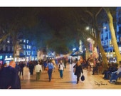 Las Ramblas  (Barcelona, Spain - Watercolor Print - 12x8 - Colorful - Street performers - Fine Art Print - Wall decor)