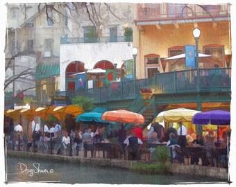 San Antonio River Walk  (Watercolor Print - Texas - River Walk - People - Fine Art Print - Wall Decor)