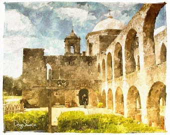 San Antonio Mission (8x10, mission, church, religious, stone walls, watercolor, wall decor, wall art, painting, archival print)